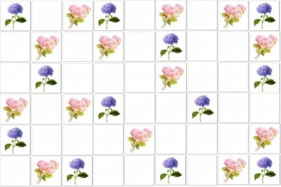 Hydrangea tiles scatter pattern example - mixed pink and blue Hydrangeas scattered among plain white ceramic wall tiles