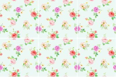Rose Tiles Ideas - Ditsy Green Roses Wall Tiles Pattern Example