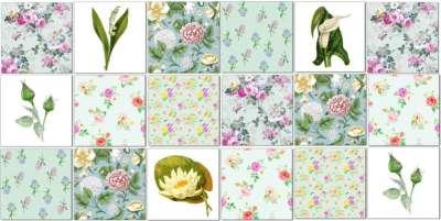 Splashback Tiles - Floral Tiles Pattern Design Idea in Greens