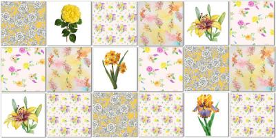 Splashback Tiles - Floral Tiles Pattern Design Idea in Yellows