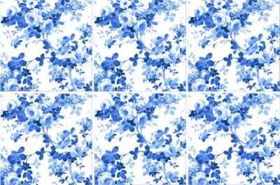 Rose Tiles Ideas - Blue Rose Tiles Pattern Example