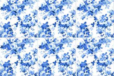 Rose Tiles Ideas - Blue Rose Tiles Pattern Example
