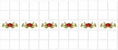 Vintage tiles - red rose border tiles