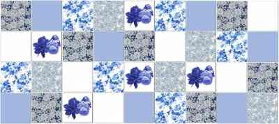Vintage Tiles - Classic Blue Roses Patchwork Tiles Pattern