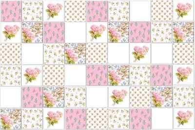 Vintage Tiles - Pink Hydrangeas floral patchwork tile pattern