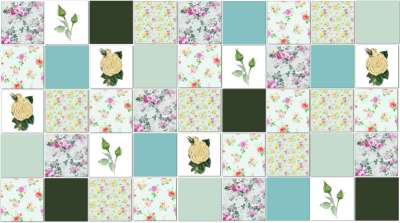 Rose Tiles Ideas - Green Roses Patchwork Tile Pattern Example