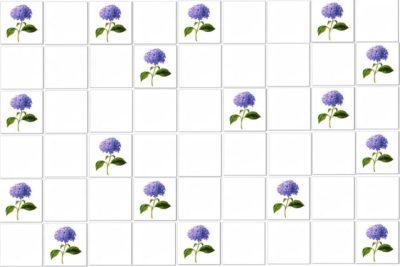Vintage Tiles - Blue Hydrangea Single Flower Scattered Tile Pattern