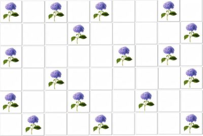 Vintage Tiles - Blue Hydrangea Single Flower Scattered Tile Pattern