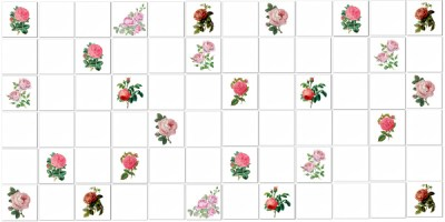 Vintage Tiles - Pink scattered roses tiles pattern example