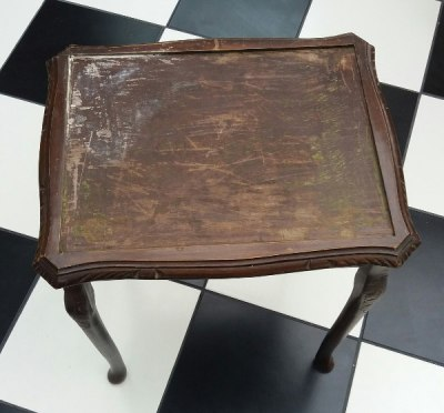 Upcycling a Tiled Table - Glass topped table with glass removed, preparing for tiling