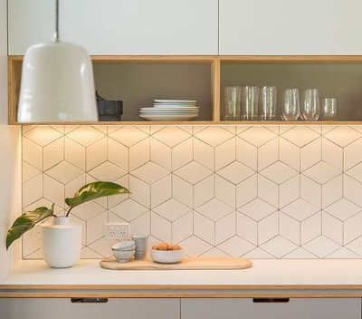 Kitchen Splashback Tiles ideas - geometric look wall tiles