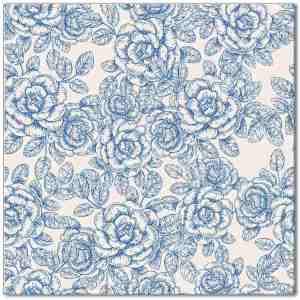 Blue tiles - light blue and white roses ceramic wall tile