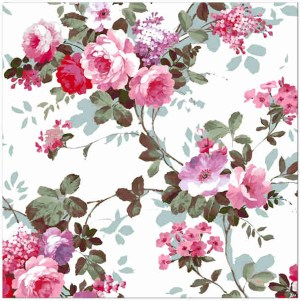 Patterned Tiles - Vintage inspired pink roses on a white background ceramic patterned wall tile