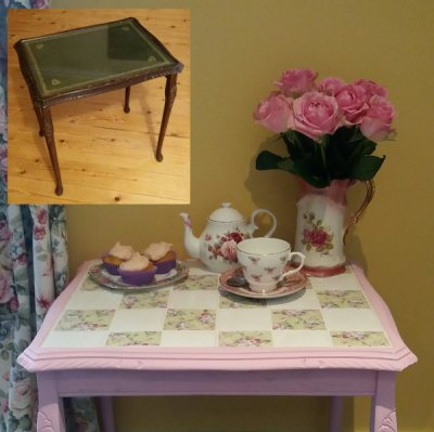 Upcycling a tiled table - before and after picture