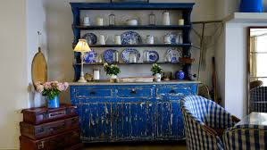 Blue tiles - traditional dresser with blue and white ceramics