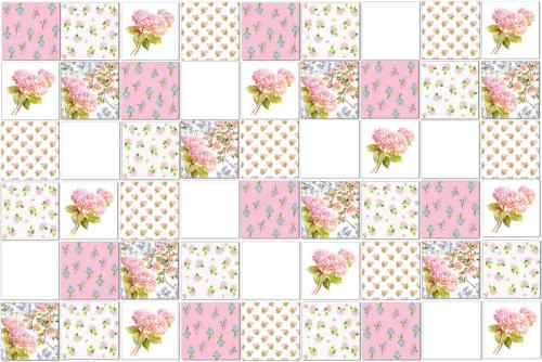 Pink Tiles - Eclectic Patchwork Tile Pattern Example - pink Hydrangeas