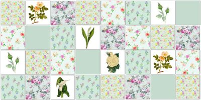 Decorative tiles - patchwork tile pattern in greens