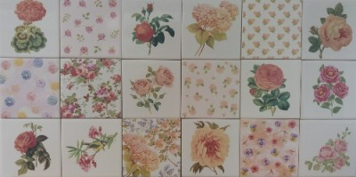 Patchwork tiles - pink floral patchwork tiles pattern example