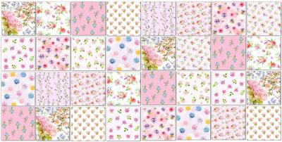 Decorative Tiles - Pale pinks patchwork tiles pattern example