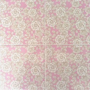 Patterned Tiles - Pink and white roses floral design ceramic wall tiles
