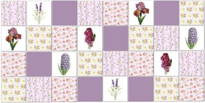 Patchwork Tiles - Purple floral patchwork tiles pattern example