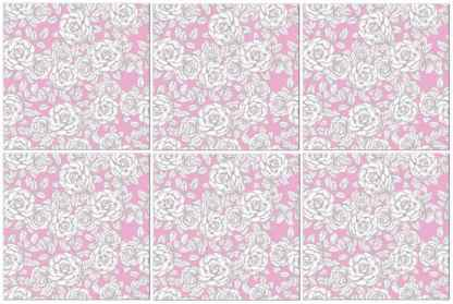 Pink and white roses patterned ceramic wall tile - pattern example