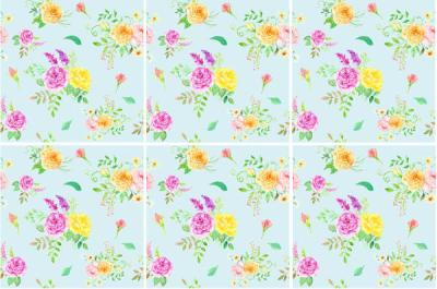 Patterned Tiles - pale blue floral patterned ceramic wall tiles