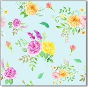 Blue Tiles - Duck Egg Blue background with pink and yellow flowers, ceramic wall tile