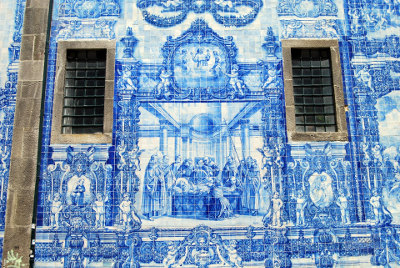 Decorative Tiles - blue and white tile mural example
