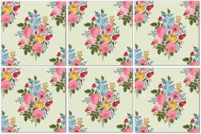 Decorative Tiles - Vintage Flower Wall Tiles Seamless Pattern Example