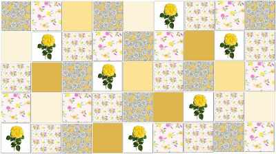 Yellow Tiles - Yellow Roses Patchwork Tile Pattern Example