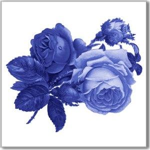 Flower Tiles - blue roses ceramic wall tile