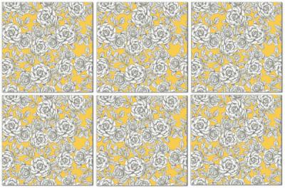 Flower Tiles - yellow and white roses seamless pattern ceramic wall tiles