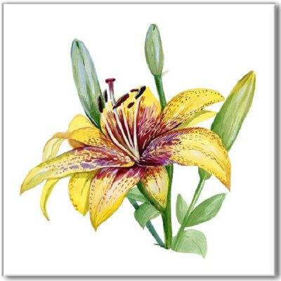 Kitchen tiles ideas - Yellow Lily flower ceramic wall tile