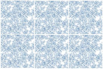 Light Blue and White Roses Ceramic wall tiles Pattern Example