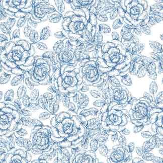 Light Blue and White Roses Pattern Ceramic Wall Tile