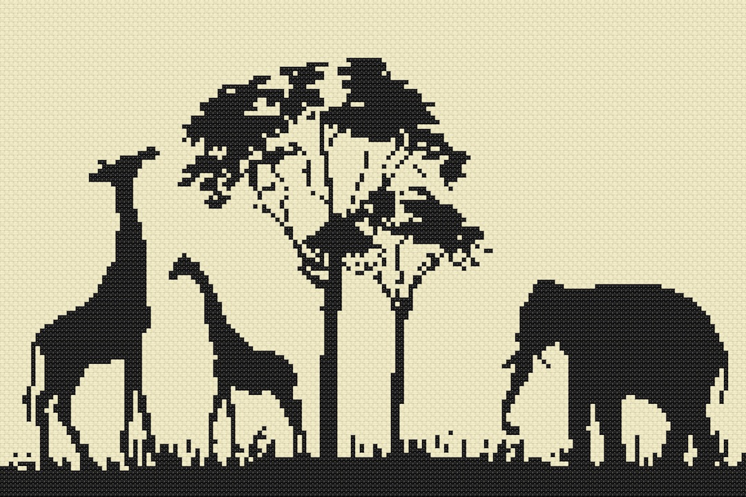 Africa Silhouette Cross Stitch Kit by Florashell
