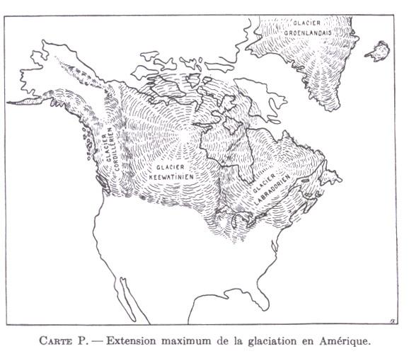 CARTE P. Extension maximum de la glaciation en Amérique.