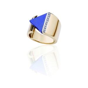 Collezione Lulù: Anello in oro giallo 18 Kt lapislazzulo e diamanti