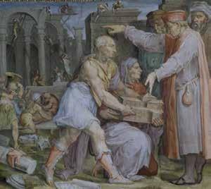 Brunelleschi e Ghiberti presentano a Cosimo il modello della chiesa di San Lorenzo, Marco da Faenza su disegno di Giorgio Vasari, 1556 - 1558 Palazzo Vecchio, Sala di Cosimo il Vecchio