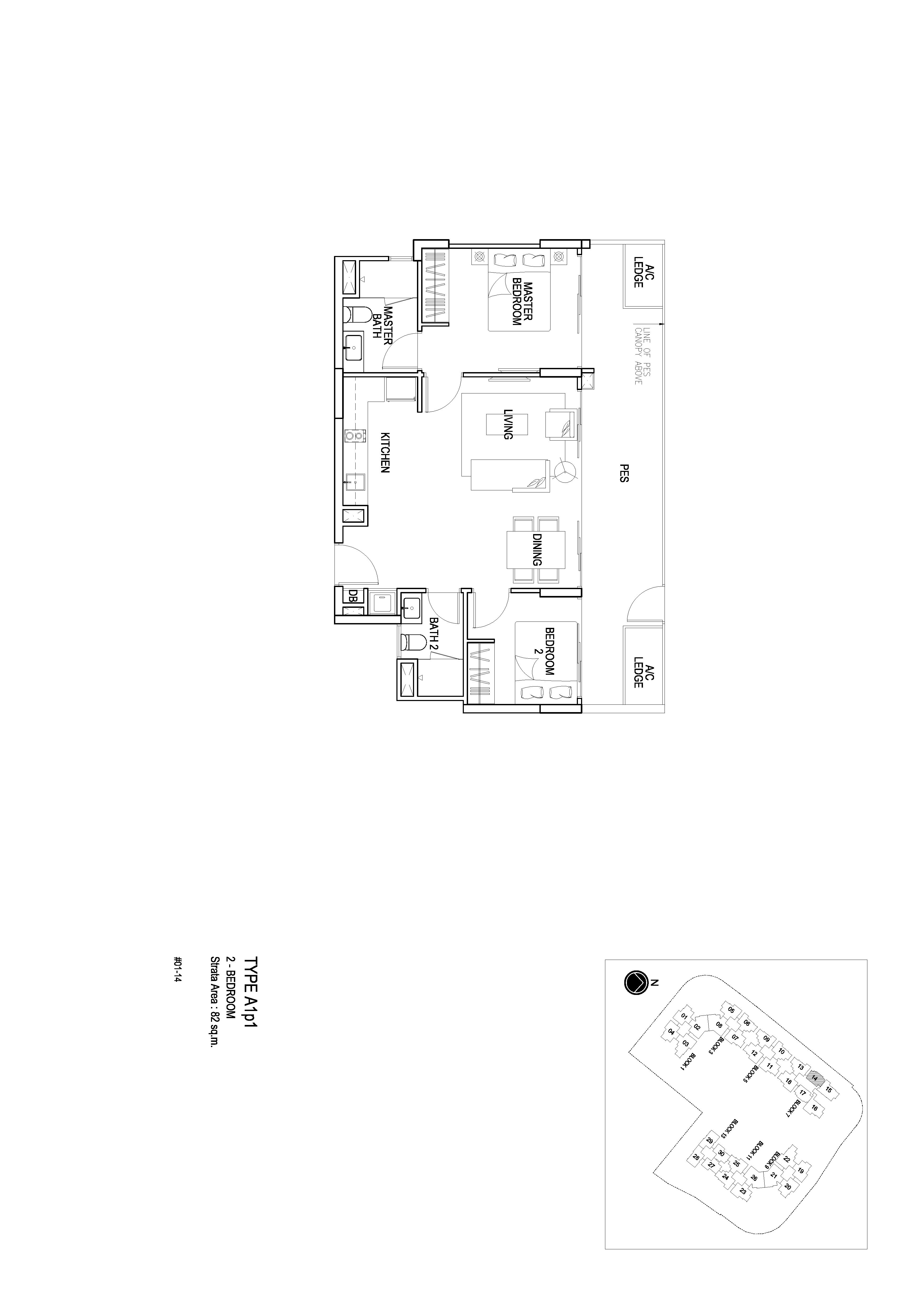 Flo Residence 2 Bedroom PES Floor Plans Type A1p1