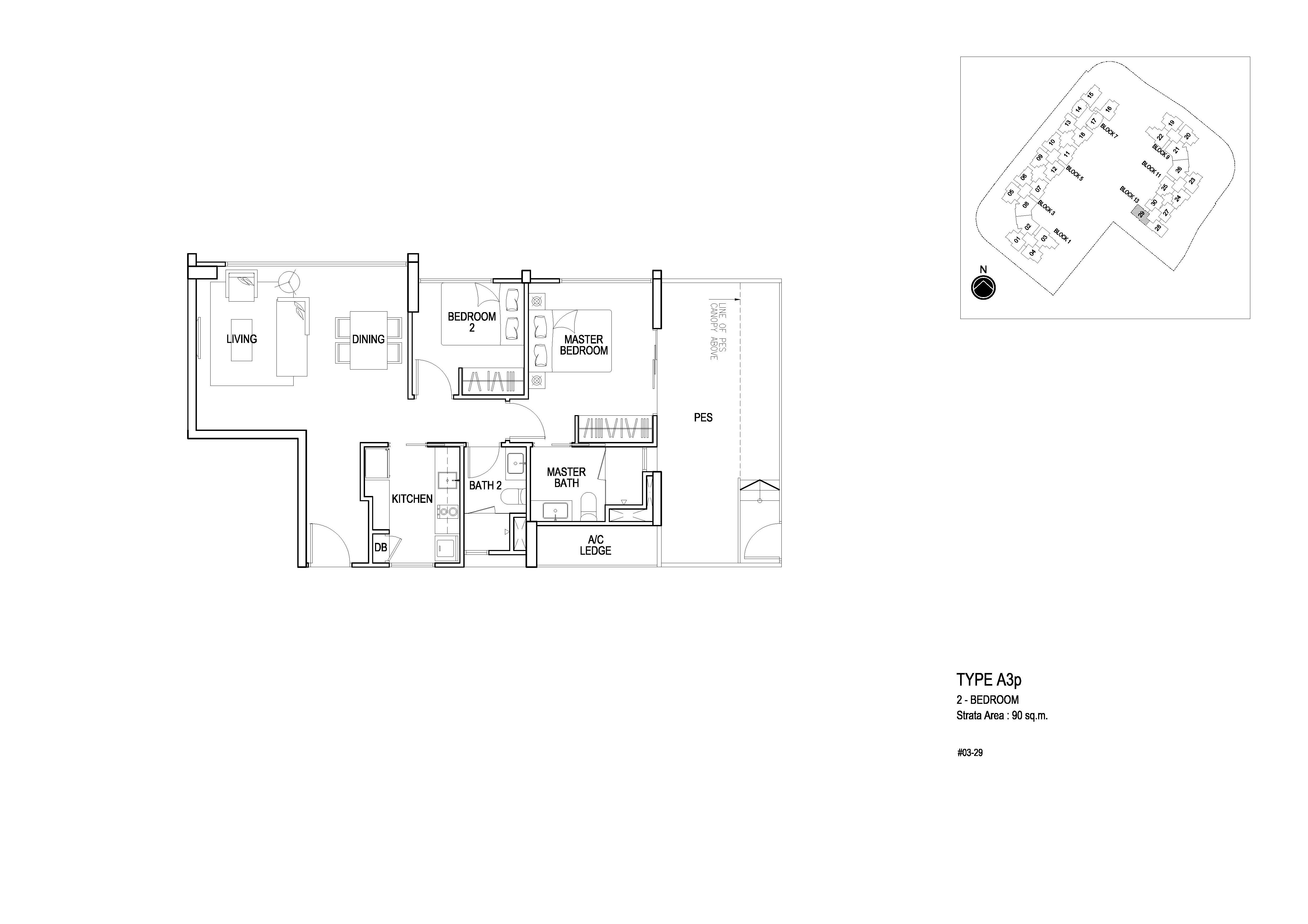 Flo Residence 2 Bedroom PES Floor Plans Type A3p