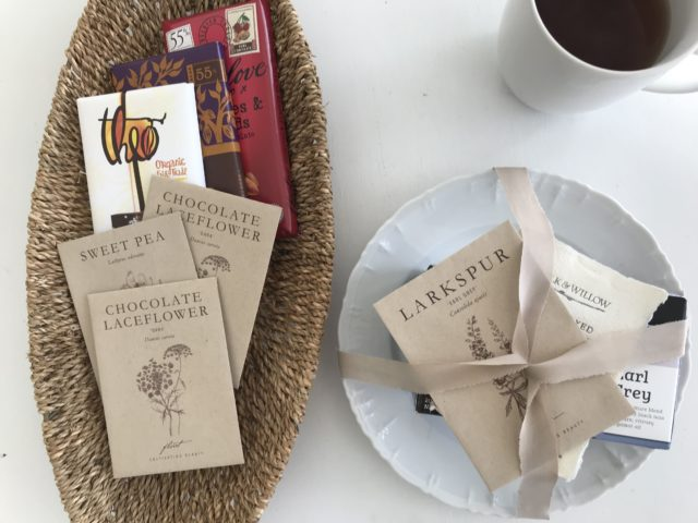 Floret seed packet gift ideas paired with chocolate and tea