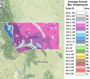 Montana USDA Zones