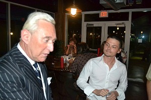 Broward Bugle owner Andrew Miller, right, with Roger Stone  Photo: Dan Christensen