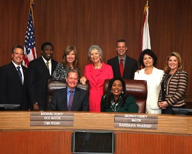 The Broward County Commission. Lois Wexler is second from right. Chip LaMarca is at the far left.