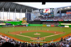 First Pitch at Marlins Park, April 4, 2012 Photo: Roberto Coquis, Creative Commons