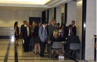 Lawyers wait to sign in for foreclosure hearings at the Palm Beach County Courthouse in West Palm Beach in July. Photo: Alison Fitzgerald/Center for Public Integrity