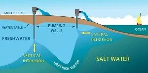 An illustration of saltwater intrusion. Courtesy: floridaswater.com