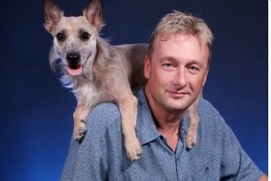 "Philip ""Geric"" Geeck with his dog Y'all"